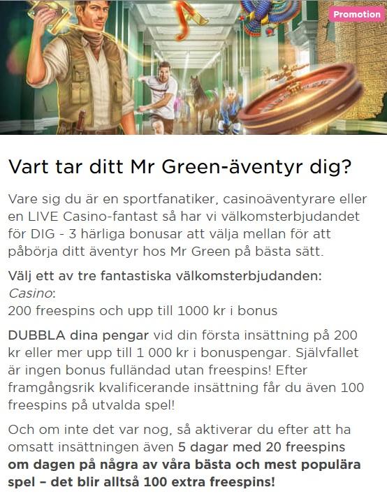 Mr Green har kampanjer mest regelbundet!