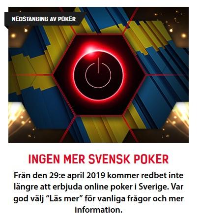 Poker läggs ned så spela casinospel på Redbet!