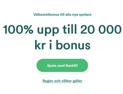 100 % bonus upp till 20 000 kr på Casumo!