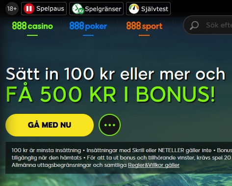 Hämta din nya bonus på 888 Casino!
