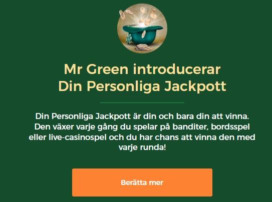 Din personliga jackpott hos Mr Green!